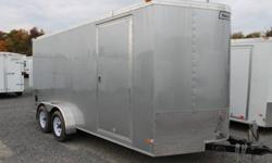SILVER EXTERIOR COLOUR, REAR RAMP DOOR, SIDE ENTRY DOOR, 2 X 12V INTERIOR DOME LIGHTS, 12V SURFACE MOUNT WALL SWITCH, FRONT STONEGUARD, 4 X SQUARE D-RINGS, GVWR 7000LBS   www.1000islandsrv.com