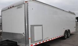 "WHITE EXTERIOR COLOUR, REAR RAMP DOOR, SIDE ENTRY DOOR, ELECTRIC BRAKES, CHROME REAR CORNERS & HEADERS, STAINLESS STEEL FRONT CORNERS, FRONT STONEGUARD, WHITE VINYL CEILING LINER, 4 X SQUARE D-RINGS, ATP FLOOR COVERING, 8'X 8' LUGGAGE RACK W/42"" FOLD DOWN"