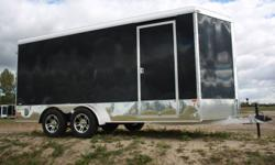 "Neo All Aluminum Round Top V-nose cargo trailer with 6"" extended height Double swing (barn) rear doors (also available with ramp door) Smooth side bonded exterior .030"" aluminum skin (no screws or rivets) ATP stoneguard with sport wrap 32"" curb side"