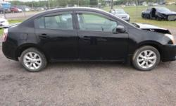 Make Nissan Model Sentra Colour BLACK Trans Automatic kms 74000 4 CYL AUTOMATIC, AIR, CD, POWER WINDOWS, POWER LOCKS, POWER MIRRORS, POWER TRUNK OPENER, ALLOY WHEELS, VEST VISORS, RADS AND FANS OK, RUNS AND YARD DRIVES, 4900 AS IS. VERY EASY TO REPAIR,
