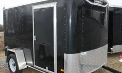 BLACK EXTERIOR COLOUR, REAR RAMP DOOR, SIDE ENTRY DOOR, FRONT STONEGUARD, 2 X 12V INTERIOR DOME LIGHTS, 12V SURFACE MOUNT WALL SWITCH, GVWR 2980LBS, DRY WEIGHT 1100LBS   www.1000islandsrv.com