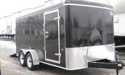 """BRAYS TRAILER SALES   7 X 14 BLACK TANDEM AXLE WITH RAMP   Ramp Door with Spring Assist Extension Flap 2 Dome Lights with Light Switch 32"""" Side Door 24"""" Stoneguard Roof Vent Drop Idler Ameraguard Coating - tongue and rear bumper Floor - 3/4"""" Plywood Wall"""