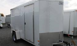 WHITE EXTERIOR COLOUR, REAR BARN DOORS, SIDE ENTRY DOOR, FRONT STONEGUARD, 2 X 12V INTERIOR DOME LIGHTS, 12V SURFACE MOUNT WALL SWITCH, 4 X SQUARE D-RINGS, GVWR 2980LBS, PAYLOAD CAPACITY 1655LBS   www.1000islandsrv.com