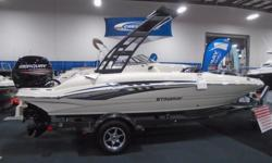 All Standard Features PLUS: Choice of Mercury 115 Pro XS or Evinrude E115 ETEC Blue Hull Graphic Folding Wake Tower with Top Cockpit Cover Tilt Steering, Seat Slider Removable Stainless Steel Ski Pole Stainless Steel Hardware Upgrade LED Cockpit Lighting