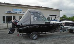 Lund's new addition, engineered for adventure and packed full of more features and options than any other boat in it's class. Price includes all standard features plus: Choice of Mercury 60 ELPT or Evinrude 60 H/O ETEC Complete Vinyl Floor Stereo with