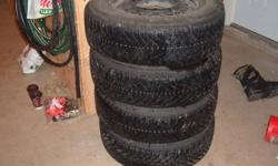 GOODYEAR NORDICS ON HONDA ON 15 INCH HONDA STEEL RIMS, 205/70R15, TIRES ARE IN NEWER CONDITION AND RIMS ALSO.