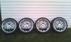 20 inch rims mint condition multi 5 bolt pattern 5x115 and 5x100 with tires 245 35 zr 20s like 80 percent tread 900 obo or trade email me on here or text 519 440 2669