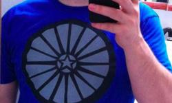 Mens Tshirt, Blue, Good fit, The WHEEL: Art and Music for Pagan Toronto, cool design, sizes S-XL