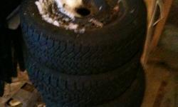 Used Two seasons 215/60 r15 Nordic Witer tires on steel rims. Rims have a 5x115 bolt pattern and were on an 2001 oldsmobile alero. Found them in my garage and won't fit new vehical   email me for more info