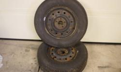 """215/70R15 all season Hercules tires on steel rims. Brand new, only about 200 kms on the tires. 5x4"""" bolt pattern rims. Already balanced, asking $250 for the pair."""