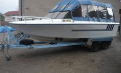 21 FT LARSON, 188 HP 302 V8 ENGINE, RUNS PERFECT, NEW SEATS, NEW EXTRA HIGH FULL CANOPY TOP, EXTREMELY WELL LOOKED AFTER, W/HEAVY DUTY ROLLER TRAILER, (TOWS AWESOME) ASKING $5500, WILL TRADE FOR A SLED, OR A SLED & CASH, OPEN TO ANY INTERESTING TRADES.