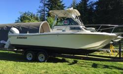 got a250 Johnson just service new washdown pump spend $3000 00 on rebuilding a 10 000 lb trailer come w radar vhf depth sounder stereo new bottom paint nice looking boat and it ride like a tank