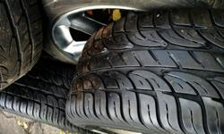 """Two are really good with 8/32"""" tread, two pretty worn, plus one loose with enough tread to pass safety. Straight and true alloys, 7X17"""" with 45 offset and 5X114.3 bolt pattern."""