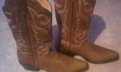 Literally walked down one road and realized I needed a bigger size but they didn't do retuns. Worn once beautiful leather boots straight from high end boot store in Nashville TN. JB DIllion tan boots with intricate design. Every girl in Nashville had