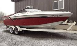 Stunning condition inside and out but needs a motor No trailer. Comes with bimini top and full cover and 2 upper gear gases and 1 brand new lower unit outdrive .thru hull exhaust.the interior is unreal no rips or tears anywhere.it is a 1985 boat that has