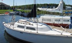 """EXCELLENT CONDITION ALL SAFETY EQUIPMENT, GAS TANK, 2007  8 H.P. LONG SHAFT JOHNSON OUTBOARD AND TRAILER INCLUDED.   SPECS. LOA 21'8"""", HULL SPEED 5.82 KTS, MAIN SAIL AREA 196 SQ FT., BEAM 7'2"""", DRAFT 1.8 FT., DISPLACEMENT 2623 BALEST 800 LBS. SERIAL #"""