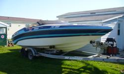 1988 23' Cuddy Cabin Performance Boat, with drop down bolster seats, Not perfect cond. but looks nice, has moring cover, BOAT ONLY, no engine, no drive, no trailer. There was a 454 mercruiser with bravo drive. Asking $2500.00 OBO. For more info call