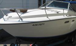 24 ft searay 240srv sleeps 4-5 twin 302 mercruisers 5.0L cloth snap on cover tandem trailer needs a bit of tlc (small patch on floor, and carpet) comes with boat, motors, and trailer call text or email for questions or time to view 5194029121 the trailer