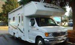 2003 class c adventurer motor home 24 ft ford chasis , v10 motor comes with awning, receiver hitch , stove , fridge , oven , microwave , hot water tank , 19 inch lcd tv ,bicycle carrier , dash air conditioning , ceiling air conditioning, sleeps 6 people