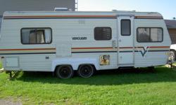 24 ft travel trailer,,fridge and furnace and pump work great, oven doesnt light,good condition for the year, has toilet sink and shower