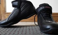 Men AIR runners? Great for young teen going back to school. 1 pair size 9 Lace up with Velcro top closure around ankle. Black Leather look of upper with pinhole design for breathing. Black & red soles, never worn has clean soles. Emporium85 discovering