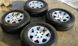 Ive got 4 Firestone Destination LE tires for sale on aluminum GM rims. The tires are in excellent condition, i bought them new about a year ago and they have at least 80% tread left on them. They came off my GMC Yukon which is now in the junkyard. The