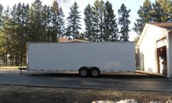 1 year old 28' Cargo Trailer, 6000 lb axles each, seamless exterior, finished interior, cabinets with stainless steel bench top, 2 500 watt exterior side work lights, wired 110v and 12 volt lighting, LED exterior lighting. I used this to move and store my