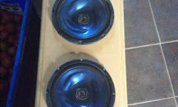 """Selling my 2 10"""" kenwood subwoofers with ported custom box and Phoenix gold amplifier. Work great just don't fit in my new car. Need them gone so best offer takes it."""