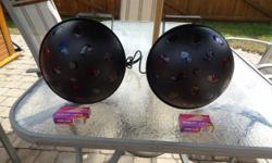 2 American DJ Vertigo lighting effects - Excellent Condition with 4 extra halogen bulbs. Made for the DJ to light up the dance floor with moving colour. They are sound activated and fan cooled. Reduced to $180 for the pair. See the video for what the