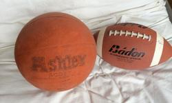 1) Baden Intermediate Official Football -- SOLD -- Precision Wound, Butyl Bladder Rubber gripping to enable spiral tosses is in perfect condition and is all there 2) Ashley Scott Basketball Regulation size $5 each 3) Leather basketball, not pictured $10