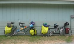 #1 1999, green, large/medium, touring: 800$ #2 2006, black, medium/small, road,disc brakes: 1600$ The 2 tandems can be sold with or without child adaptor (3 to 11 years old, sold seperatly, 250 $ each).