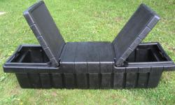 2 cargo box holders for sale 1 is plastic, the other is aluminum check plate has a minor hole in side. I also have 6 barrels for sale great for making a dock I'M asking $90 each cargo box o.b.o barrels are $50 ea or $250 for all