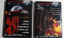 2 DVD Horror Classics: 9 Movies over 10 hours Digitally Enhanced Audio 5.1 - 2003 Platinum 1. Bela Lugosi: The Gorilla, The Devil Bat, The Human Monster, The Invisible Ghost, The Ape Man 2. Carnival of Souls, Chamber of Horrors, The Last Man on Earth,