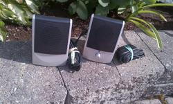 "YOU ARE PURCHASING A LIKE NEW, LIGHTLY USED A SET LEFT AND RIGHT EWC DIAMOND AUDIO COMPUTER SPEAKRES IN PERFECT WORKING ORDER AND CONDITION. GREAT USE FOR CLEAR CRISP SOUND PLUG AND PLAY..... MEASURES: 5"" TALL X 3.5"" WIDE X 3"" DEEP THANK YOU."