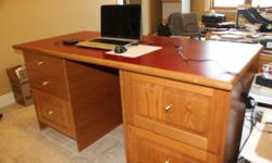 Desks dissassemble and assemble in 3 parts: top and 2 side cabinet banks. Drawers are on enamelled steel glides like quality kitchen cabinets. Larger desk is 30 by 65 by 32 inch height. Smaller desk is 30 by 53.5 by 29.5 inch height. Price is per each