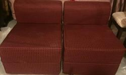 2 pc red dotted sofa bed in excellent condition