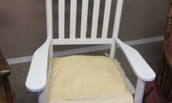 One White Rocker at $15.   One Wooden Rocker with Burgandy Padding at $35.