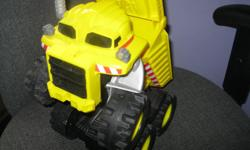 We have 2 Rocky the Talking/Dancing Trucks Retails for over $39.99 Takes 4 c batteries (included) Can use as a regular truck to play or watch Rocky talk & dance!!! On/Off switch Both in Great condition Letting go for $20 each ($40) or get BOTH for ONLY