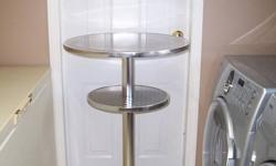 This is a 50's style bar table. Very sturdy still but has some minor blemishes on the top edge. See pictures.