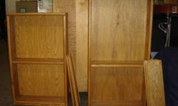 2 x Wood Bookcases - $130 �  Both have oak texture �  One is 6?h and the other is 5?h �  Both are 30?wide by 16? deep �  Both have one stationary shelf �  Come with 7 separate shelves Questions: Call Brian at 778 ? 241 ? 0912
