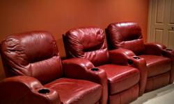 Must sell as moving down east. This little-used 3-seat leather sofa retails for over $6,000. Each seat and footrest independently recline, and there are 4 beverage holders. The unit is rich brown in color and the 3 seats come apart to facilitate moving.