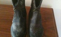 beautiful boot with distressed denium and removable bling. fun for line dancing.