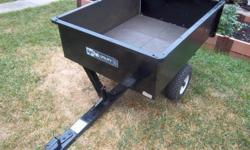 """""""Agri-Fab"""" utility trailer for sale. Dump cart. Removable back gate. Load capacity is 750 lbs. Bed size is 32"""" wide X 42"""" long X 12"""" high. Only $130. We are located in Orleans. See our list of other items for sale. First come, first served."""