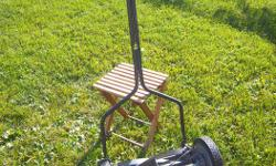 """""""Earthwise"""" 14"""" pushmower for sale. Cuts good. 8 1/2"""" wheels. Adjustable cutting height. Only $50. We are located in Orleans. See our list of other items for sale. First come, first served."""