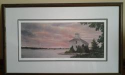 """Doug Hook print of a Lighthouse. Framed and ready to be placed on your wall. Measures 31 1/2"""" X19 1/2"""""""