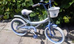 """""""Silver Mist"""" by Venus bike for sale. 18"""" wheels. Front hand brake and coaster brake. Oversize tubing with fender. Extras~ basket and bell. Only $50. We are located in Orleans. See our list of other items for sale. First come, first served."""