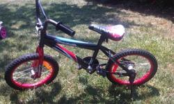 "Boys, red, white and black 16"" wheel Supercycle Illusion Bicycle. Bought last year. Currently selling for $90 plus tx at Canadian Tire. The seat is slighly scuffed up. Asking $35 obo. Call 905-632-7427 or PM."