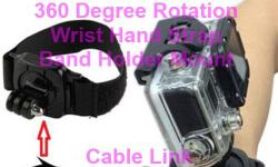 360° Rotation Wrist Hand Strap Band Holder Mount for Gopro and Other Sports Camera -360° Rotation Wrist strap mount -Lock ensure firmly attachment to the camera -Velcro tape design, length adjustable -With 360-degree mount, you can adjust the angle you