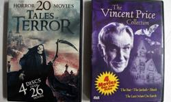 3 DVD box collection of Horror Movies: 1. The Vincent Price Collection - 4 Movies The Bat, The Jackals, Shock, The Last Man On Earth by Miracle Picture 2005 2. Horror 20 Movies Tales of Terror - 4 dics over 26 Hours by Echo Bridge 2016 3. Classic Monster