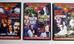 3 DVD double Feature by Double D Distribution 2006 1. Fury of the Wolfman & Horror Express 2. The Phantom Planet & The Phantom from Space 3. Doctor Blood's Coffin & The Cabinet of Dr. Caligari All Regions DVD Digitally Remastered For Superior Quality